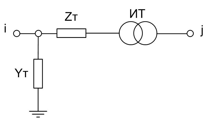 Рисунок 1 Г- Образная схема замещения 2 обмоточного трансформатора с идеальным трансформатором ИТ
