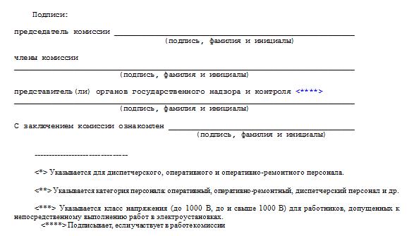 Приложение № 4 к Правилам по охране труда при эксплуатации электроустановок, утвержденным приказом Минтруда России от 24.07.2013 № 328н