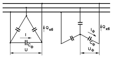 Схемы включения конденсаторных батарей