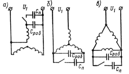 Схемы соединения обмотки статора трехфазного асинхронного двигателя при включении его в однофазную сеть