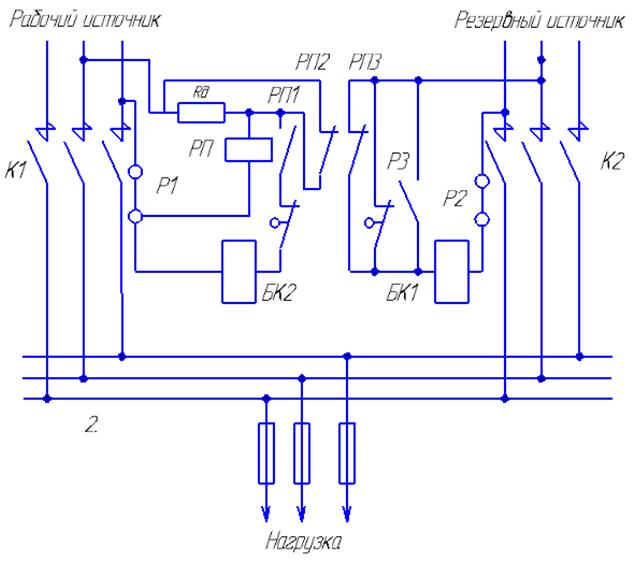 Схема АВР на контакторах низкого напряжения с механической защелкой