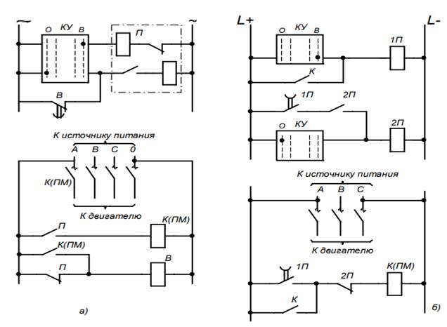 Схема устройства повторного пуска электродвигателей низкого напряжения