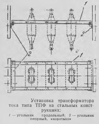 Рисунок 1 Установка трансформатора тока типа ТПФ на стальных конструкциях