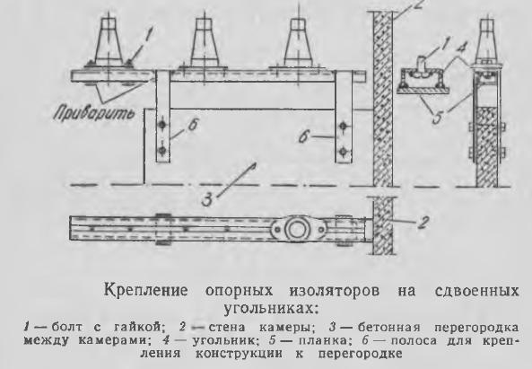 Рисунок 2 Крепление опорных изоляторов на сдвоенных угольниках