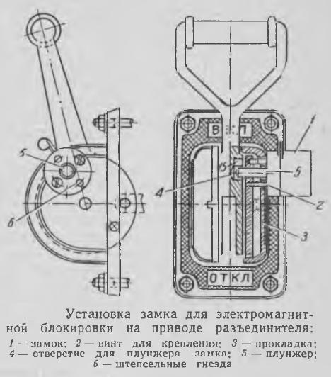 Рисунок 3 Установка замка для электромагнитной блокировки на приводе разъединителя