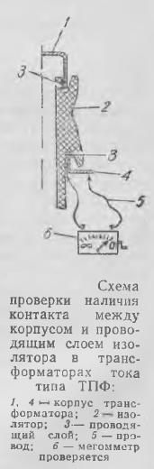 Рисунок 4 Схема проверки наличия контакта между корпусом и проводящим слоем изолятора в трансформаторах тока типа ТПФ