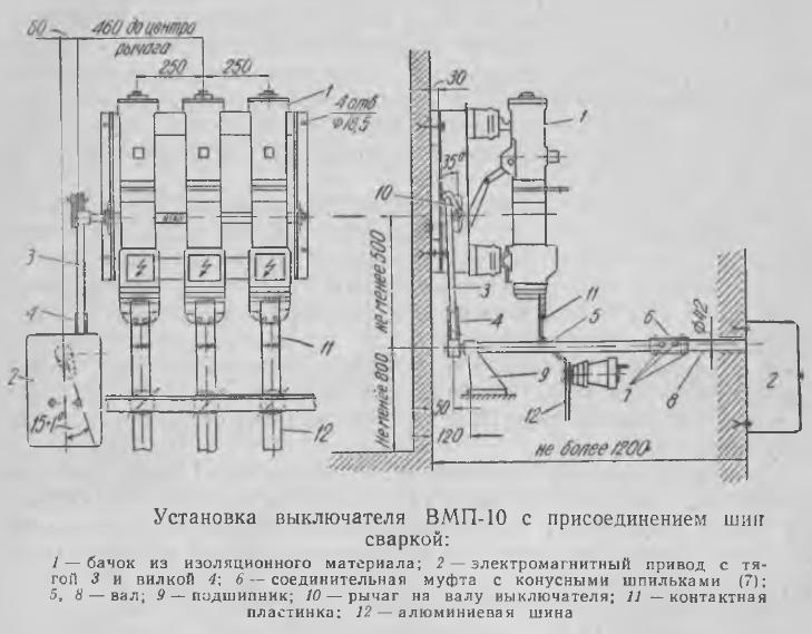 Рисунок 6 Установка выключателя ВМП-10 с присоединением шин сваркой