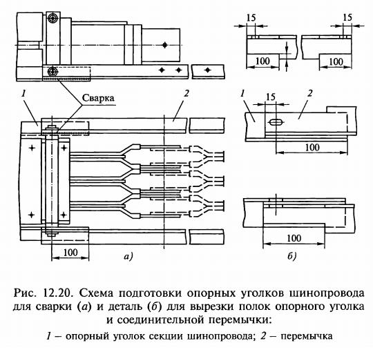 Схема подготовки опорных уголков шинопровода для сварки и деталь для вырезки полок
